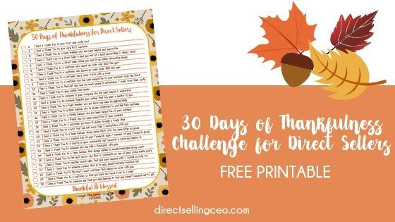 30 Days of Thankfulness Challenge for Direct Sellers Printable