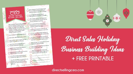 Direct Sales Holiday Christmas Business Building Ideas and Free Printable