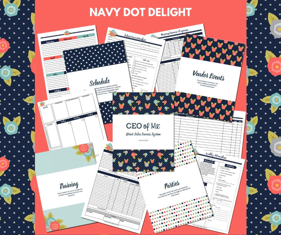 Navy Dot Delight Direct Sales Planner Toolkit Schedule System