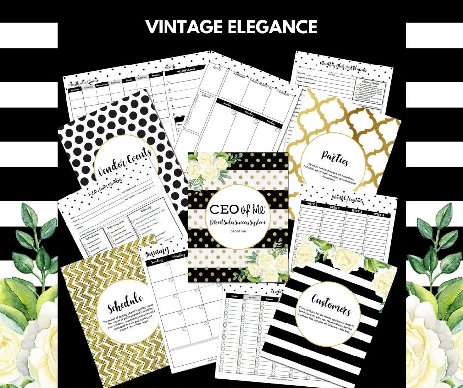 Vintage Elegance Direct Sales Planner Toolkit Schedule System
