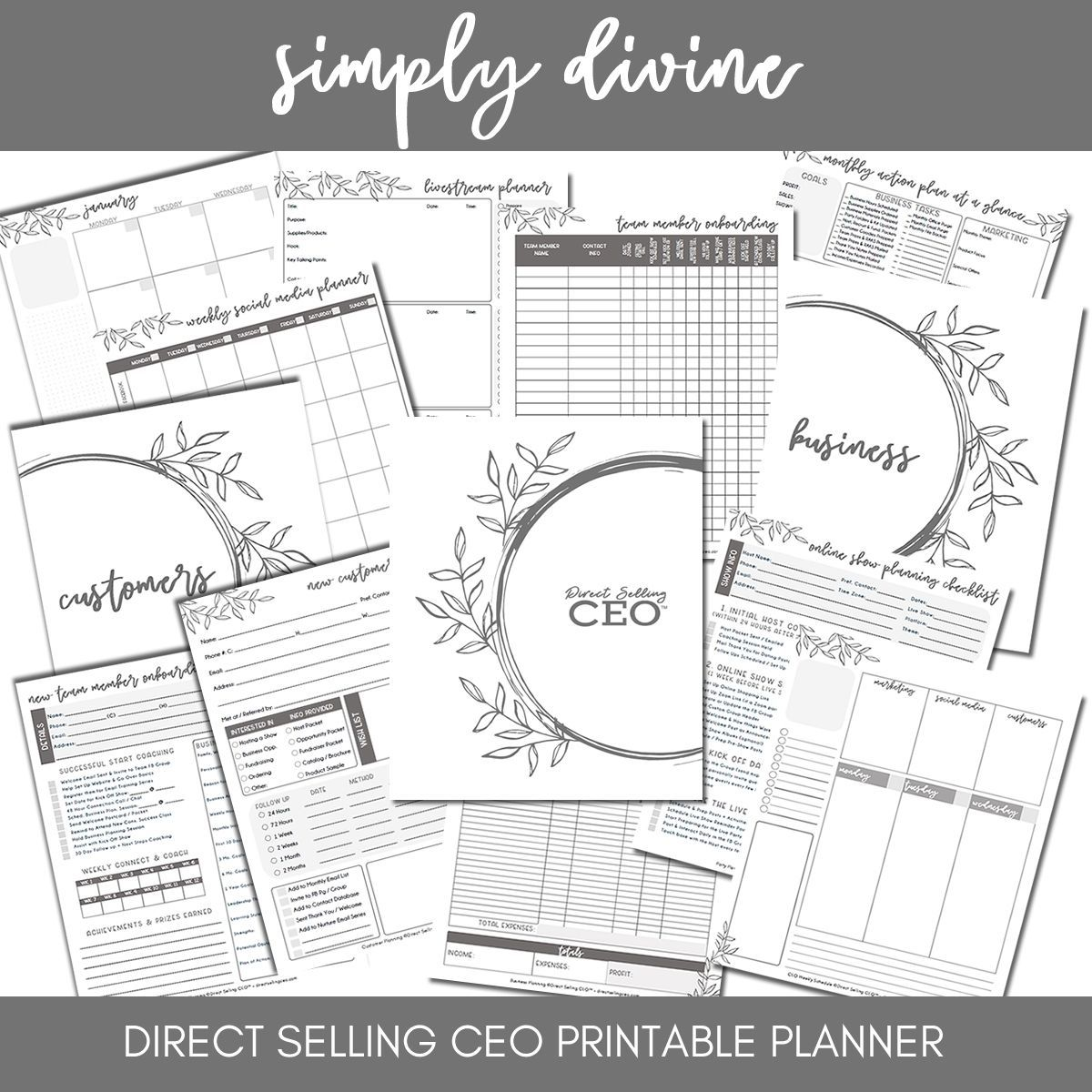 Simply Divine Printable Direct Sales Planner by DSCEO