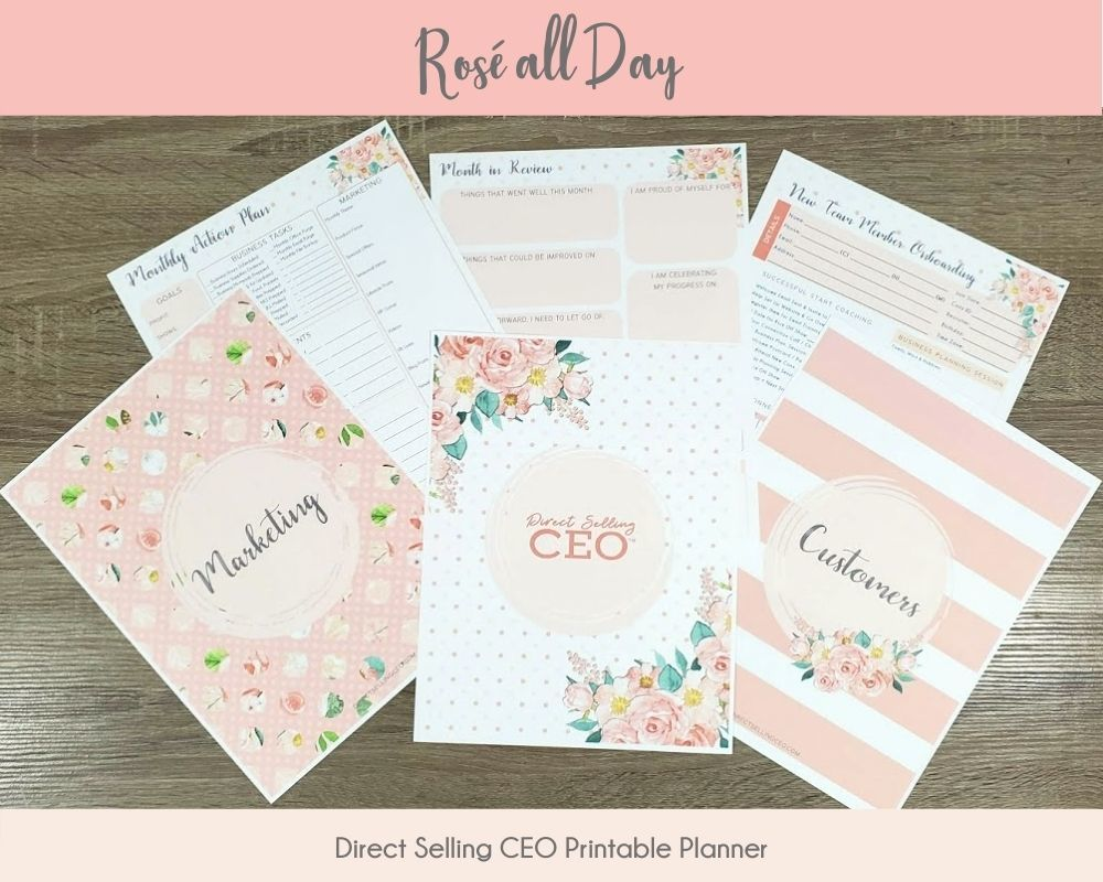 Rose all Day Direct Selling CEO Printable Planner Preview