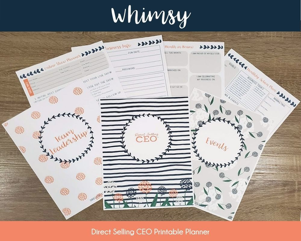 Whimsy Direct Selling CEO Printable Planner Preview
