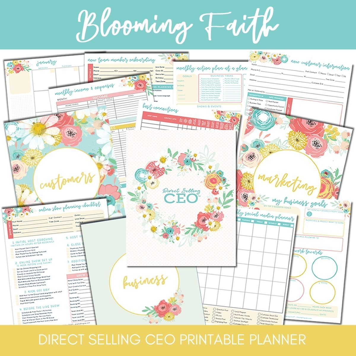 Blooming Faith Printable Direct Sales Planner by DSCEO