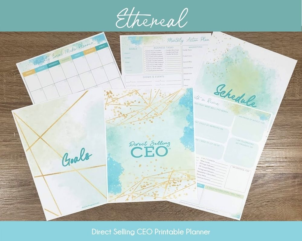 Ethereal Direct Selling CEO Printable Planner Preview