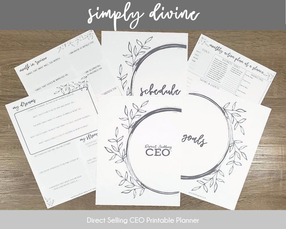 Simply Divine Direct Selling CEO Printable Planner Preview