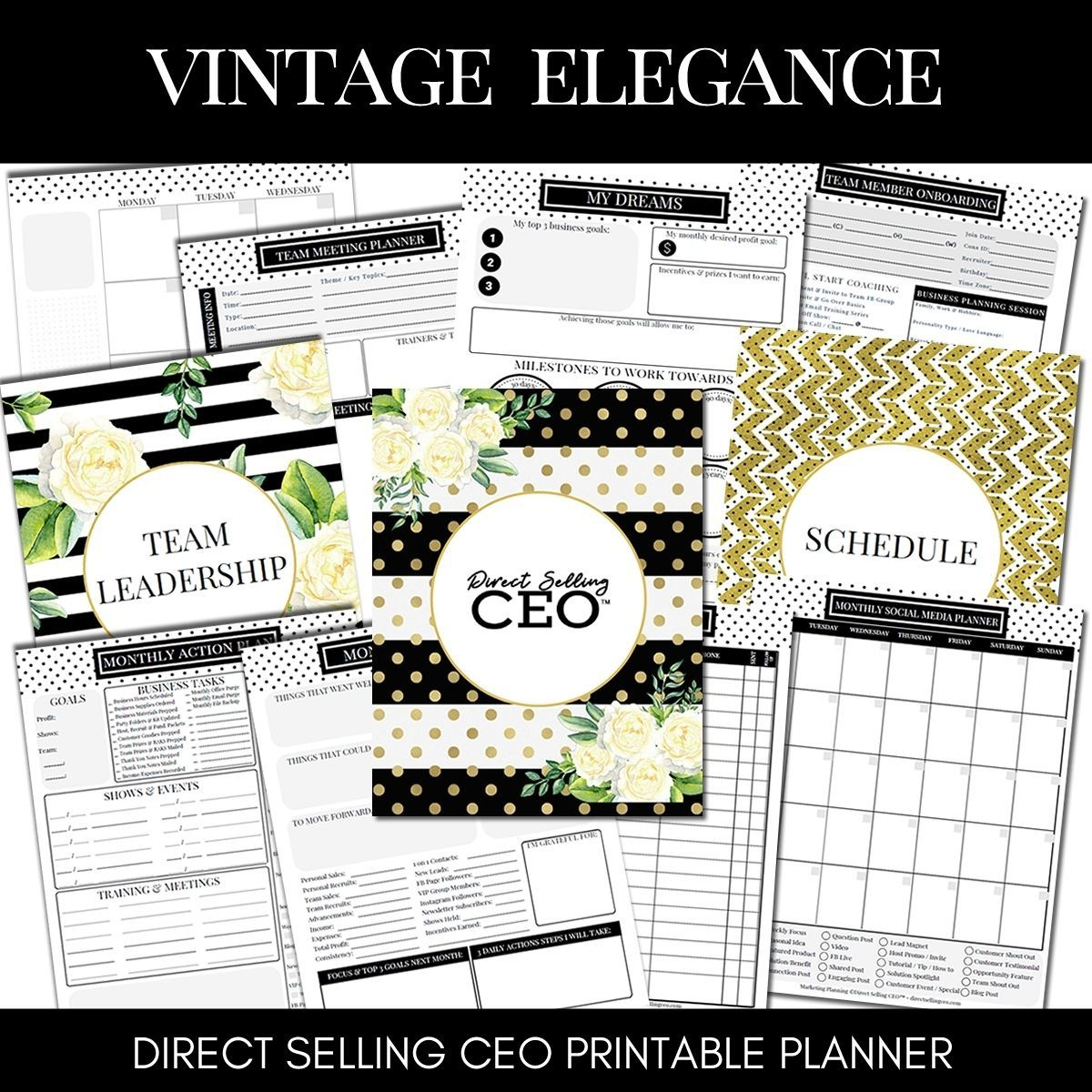 Vintage Elegance Printable Direct Sales Planner by DSCEO