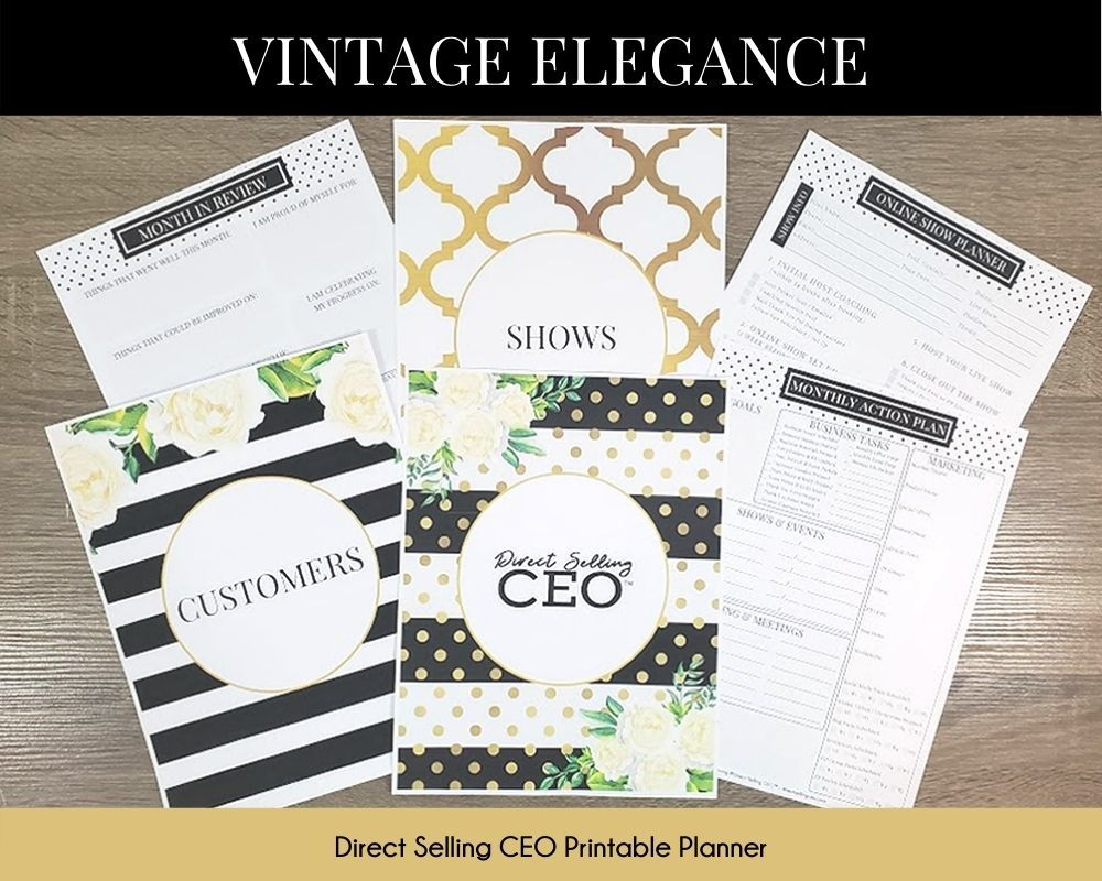 Vintage Elegance Direct Selling CEO Printable Planner Preview