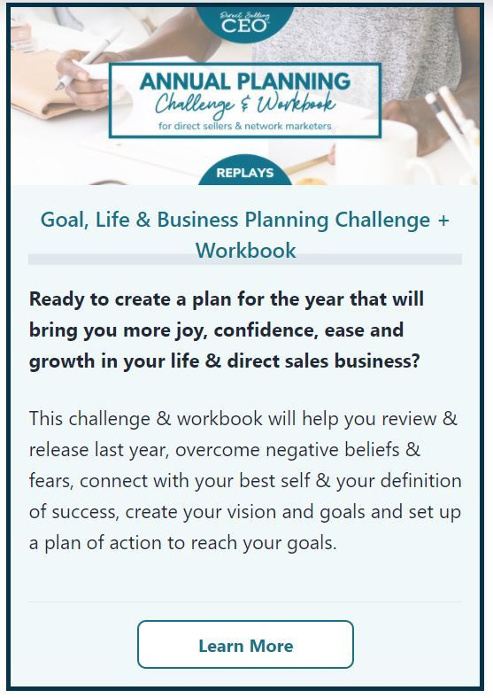 Annual Goal, Life and Business Planning Challenge and Workbook for Direct Sellers